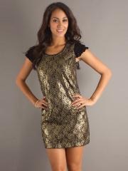 Metallic Gold Sequined Fabric Scoop Neckline and Capped Sleeves Wedding Guest Dresses
