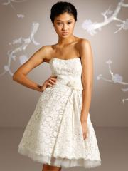 Mini Wedding Dress of Lace and Bow