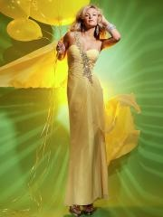 Modern Ankle-length Rhinestoned One-shoulder Sweetheart Ruffled Chiffon Dress