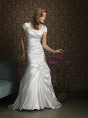 Modest Ivory Silky Taffeta Gown of Short Sleeves