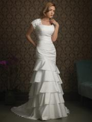 Multi-Tiered Square Neckline Taffeta Gown of Cap Sleeves