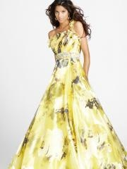 Multicolored Floral Print Fabric Single Ruffed Straps Beaded Accented Quinceanera Dresses