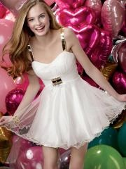 New Arrival Spaghetti Straps Empire Waistline Satin and Tulle Cocktail Dress with Rhinestones