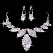 Noble Rhinestones Wedding Necklace and Earring in Leaf-shape