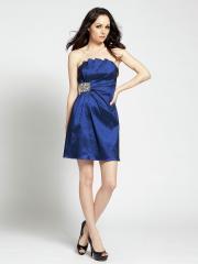 Notorious Scalloped Neck Dark Royal Blue Silky Satin Brooch Short Sheath Bridesmaid Dress