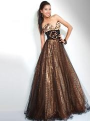 Off-Shoulder Chiffon Empire Evening Dress with Belt