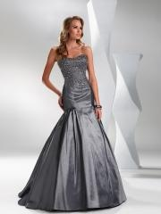 Off-Shoulder Stain Empire Evening Dress with Embroidered