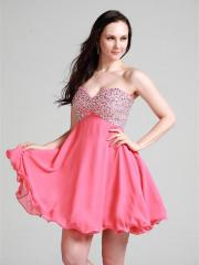 Off-Shoulder Stain Mini-Length Homecoming Dress with Synthetic Diamonds