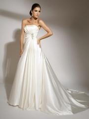Off-Shoulder Stain Pleated Sweep Train Wedding Dress