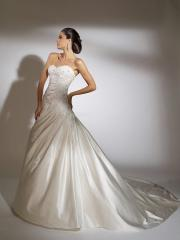 Beautiful Off-Shoulder Stain Pleated Sweep Train Wedding Dress with Embroidered