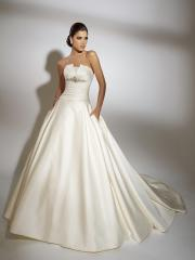 Off-Shoulder Stain Pleated Wedding Dress with Sequins