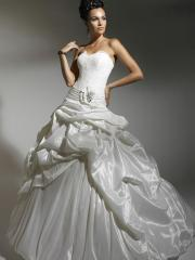 Off-Shoulder  Pleated  Stain Fabric Tiered Wedding Dress with Bow Tie