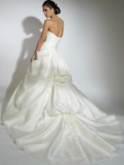 Off-Shoulder Stain Tiered Wedding Dress with Flower