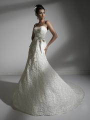 Off-Shoulder Stain Wedding Dress with Embroidered