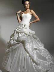 Off-Shoulder Tiered Pleated Ball Gown Wedding Dress with Embroidered
