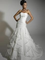 Off-Shoulder Tiered Pleated Sweep Train Wedding Dress with Sequins