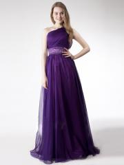 One-Shoulder Flod Stain Floor-Length Homecoming Dress with Embroidered Belt