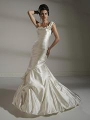 One-Shoulder Stain Pleated Stain Wedding Dress