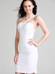 One-shoulder Stain Mini-Length Homecoming Dress with Embroidered