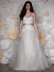 Ostentatious Sweetheart Lace Tulle Wedding Gown of Sash