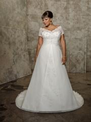 Plus Size A-Line with Off-The Shoulder Neckline Wedding Dress