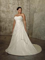 Plus Size A-Line with Strapless Beaded And Embroidered Neckline Wedding Dress