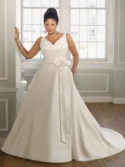 Plus-Size with Sexy V-Neck And Natural Waistline Wedding Dress