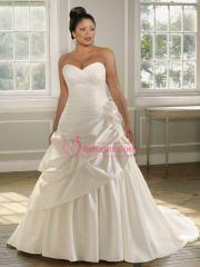 Plus-Size with Shirring And Applique on Waistline Wedding Dress