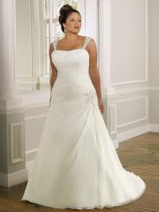 Plus-Size with Square Neckline Elegant Wedding Dress
