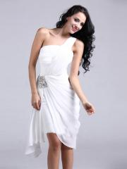 Pure White One-shoulder Knee-length Homecoming Dress with Rhinestones at waist
