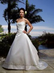 Ravishing Princess Strapless Satin Gown of Embroidery and Back Train