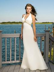 Romantic Halter Chiffon Gown for Beach Wedding