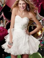 Romantic Mini-length Sweetheart Pure White Ruffled Cocktail Dress with Applique Sequins