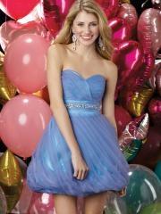 Romantic Mini-length Sweetheart Ruffled Bodice and Skirt Cocktail Dress with Rhinestones