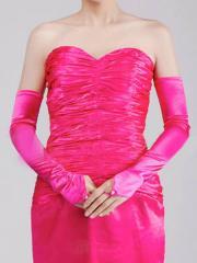 Satin Fingerless Prom Gloves with Opera Length