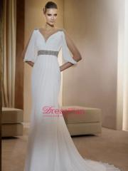 Satin Gown with Strapless Sweetheart Neckline And Wrap Bodice Accented With Beaded Lace Appliques Dresses