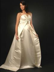 Satin Scalloped-Edge Fly-Away Train Wedding Dress