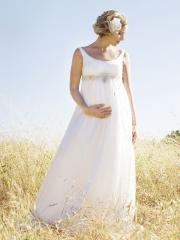 Scoop Chiffon Shirring Floor-Length Wedding Dress