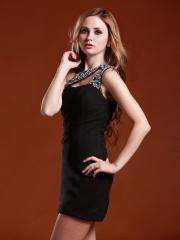 Sexy Black Mini-length Homecoming Dress with Rhinestoned One-shoulder