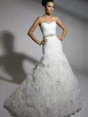 Sexy Stain Tiered Pleated Wedding Dress with Sequins