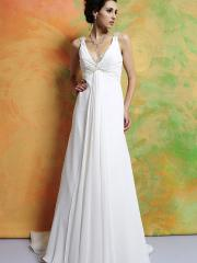 Sexy V-neckline Empire Waist Chiffon Material Wedding Dress with Beaded Embellishment and Full Length Skirt