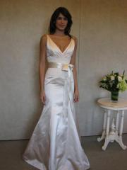 Sheath Deep V-Neck Satin Gown of Bow Tie and Sash