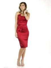 Sheath Short Length Strapless Red Silky Stretch Satin Mother of Brides Dresses