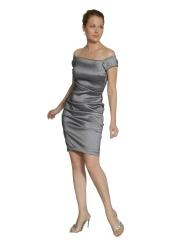 Sheath Short Off-The-Shoulder Silver Stretch Satin Beaded Mother of Brides Dress