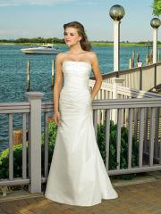 Sheath Strapless Satin Gown of Regular Pleats at Bodice