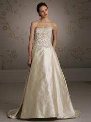 Sheer Qualified Strapless Satin Gown of Princess Shape