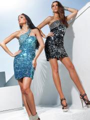 Shining Mini-length One-shoulder Sequined Sheath Dress