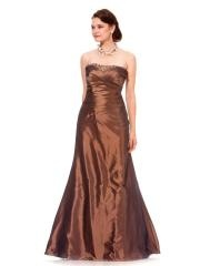 Shinny Taffeta Strapless Sequined Trim Ruched Full Length A-line Mother of the brides Dresses