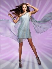 Short Elegant Chiffon Fabric and Sheath Style Asymmetrical Neckline Cocktail Dresses