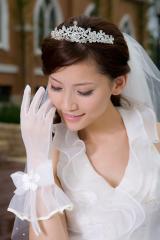 Simple  chic Elbow Length White Fingertips Satin Bridal Gloves